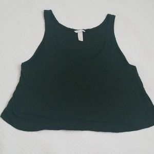 H&M Basics Forest Green cropped swing tank top
